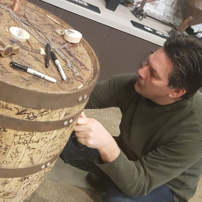 After you pull a sample from it, sign the barrel on the Drinks of Walkerville experience.